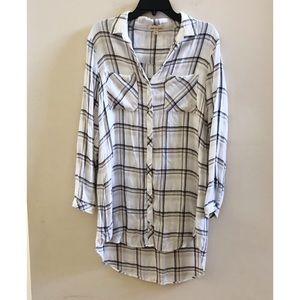 Cloth & Stone White Plaid Button Down Flannel